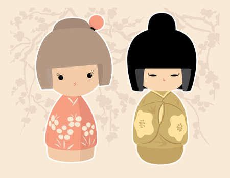 Aziatische Dolls Stock Illustratie