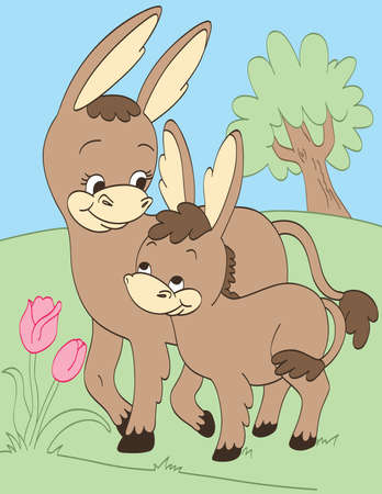 Donkey Mother and Baby Illustration