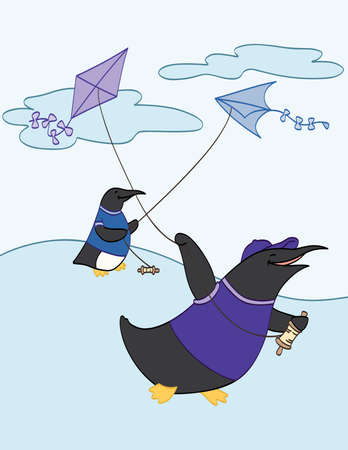 Flying Kites with Friends Illustration