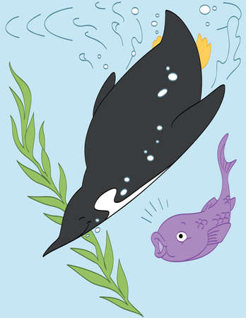 Swimming with a Fish Friend Illustration