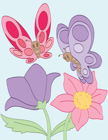 Butterflies and Flowers Illustration