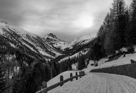 Panorama of Livigno (altitude 1816 m) in winter. Valtellina, Italy