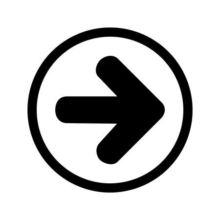 ARROW RIGHT ICON IN BLACK WITH CIRCULAR FRAME