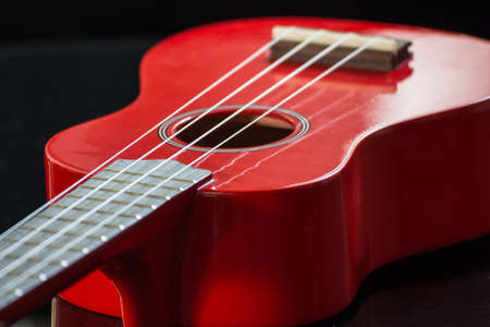 nylon string: detail of the body and the keyboard of a soprano ukulele
