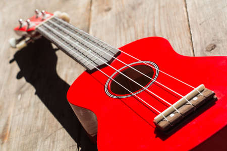 the soprano: detail of the body and the keyboard of a red soprano ukulele