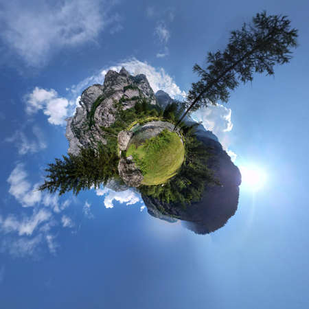 pine creek: Little mountain panorama planet with cloudy sky, pine trees and creek