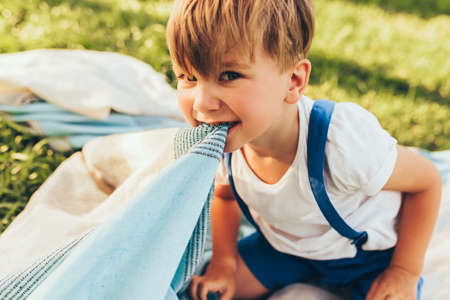 Horizontal image of funny silly little boy playing with a blanket outside in the garden. Cute kid having fun in the park during the picnic with his family. Cheerful kid playing outdoors