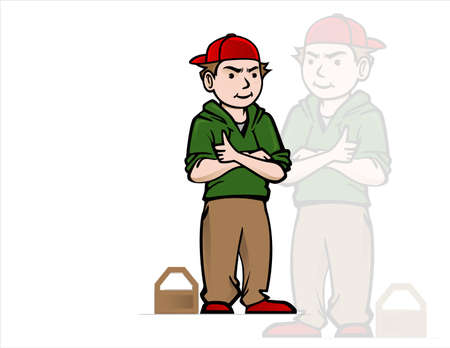 cool boy: Cool boy with red hat Illustration