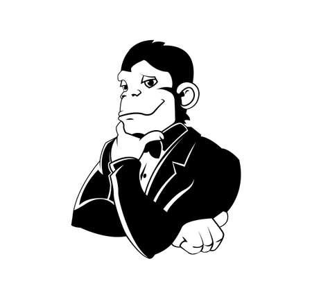 monkey suit: Elegant monkey in a tux Illustration