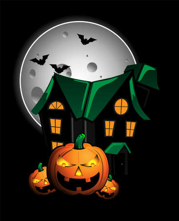 horror house: Pumpkins and haunted house