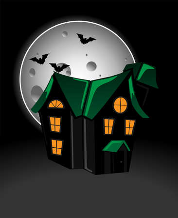 Haunted house in moonlight Ilustrace