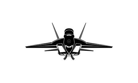 Silhouette of a hunting plane seen from the front Ilustração