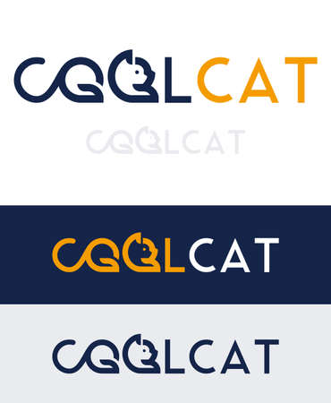 Cool cat, stylized icon representing a cat in the form of text