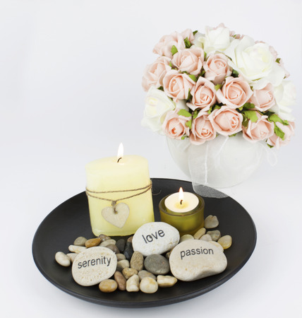 rock salt: Table arrangement with stones flowers and candles