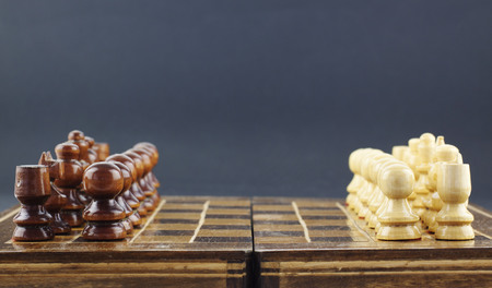 arranged: Chess pieces arranged on the board Stock Photo