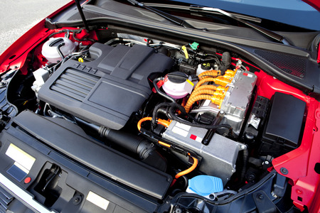 hybrid car: View of the engine of a modern hybrid car. Stock Photo