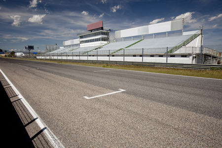 Perspective of tribune and straight in Jarama Racetrack, Madrid, Spain. Editorial