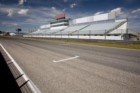 tribune: Perspective of tribune and straight in Jarama Racetrack, Madrid, Spain. Editorial