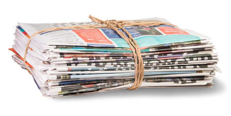 wastepaper: Stack Of Newspapers Bandaged Rope Isoleted On White Background