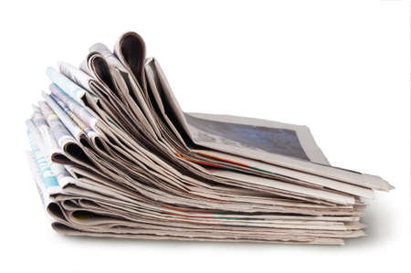 daily newspaper: Stack Of Newspapers Isolated On White