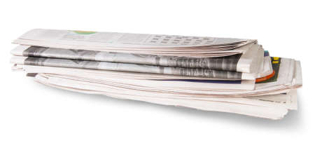 Rolled Of The Newspaper Isolated On White Background photo