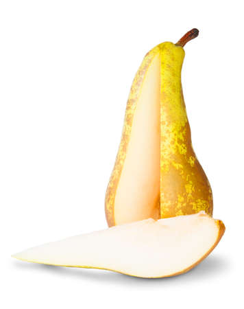 segment: Yellow Pear With Cut Out Segment Isoleted On White Background