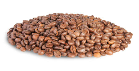 caf: Heap Coffee Beans Isolated On White  Stock Photo