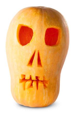 cucurbit: Skull Pumpkin Halloween Jack OLantern Isolated On White Background