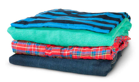 Stack Of Four Types Of Clothes Rotated Isolated On White Background photo