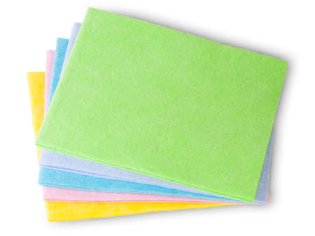sort out: Multicolored Cleaning Cloths Isolated On White Background