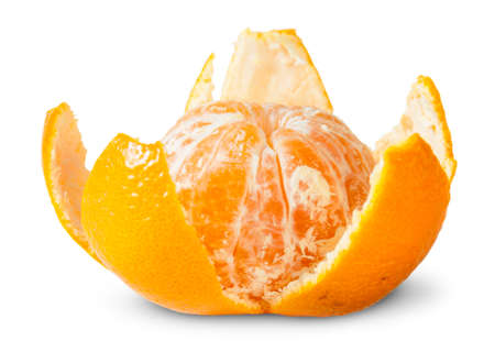 purified: Partially Purified Juicy Tangerine Isolated On White Background