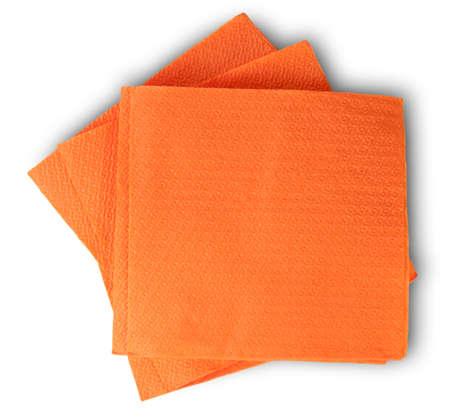 serviettes: Some Blank Orange Paper Serviettes Isolated On White Background