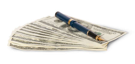 payola: Hundred dollar bills and pen isolated on white background
