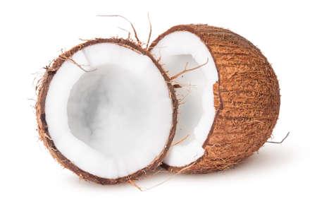 cocotier: Deux moitiés de noix de coco isolé sur fond blanc