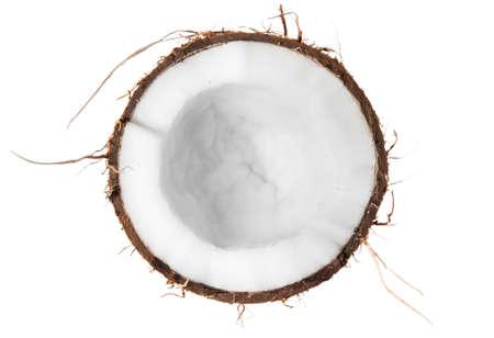 noix de coco: La moiti� de la noix de coco vue de dessus isol� sur fond blanc