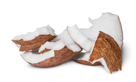pulp: Several pieces of coconut pulp isolated on white background