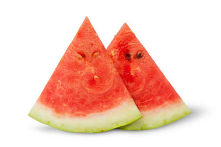 two pieces: Two pieces of watermelon near isolated on white background