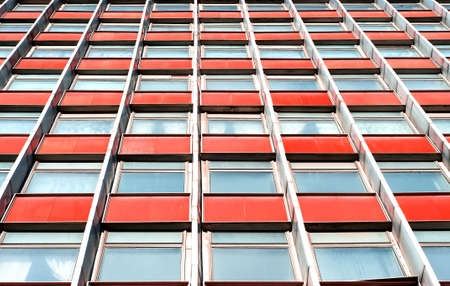 highriser: From below upwards a multistory office building with terracotta panels Stock Photo