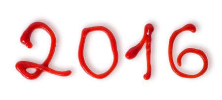 salsa de tomate: A�o Nuevo 2016 la salsa de tomate aisladas sobre fondo blanco