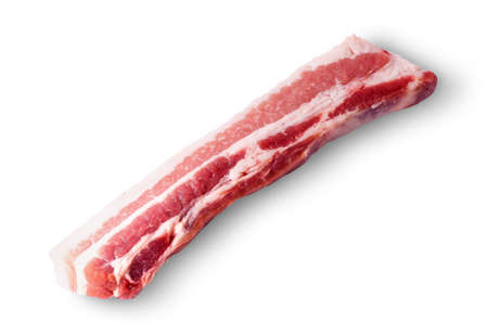 severed: Severed strips of bacon rotated isolated on white background