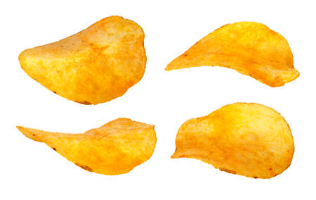titbits: Set of separate chips closeup isolated on white background