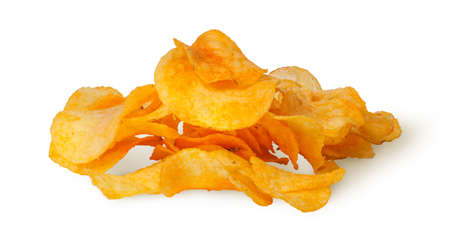 titbits: Pile of potato chips isolated on white background