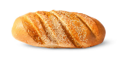 long loaf: White long loaf with sesame seeds isolated on white background Stock Photo