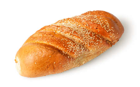 long loaf: White long loaf with sesame seeds rotated isolated on white background