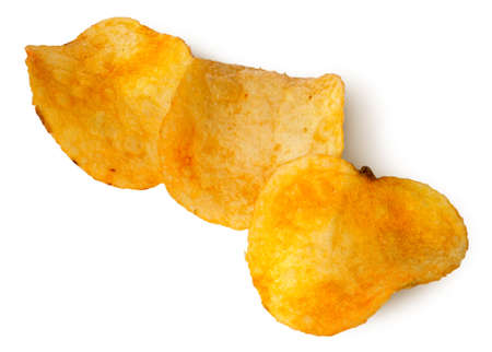titbits: Three pieces of potato chips in a row isolated on white background