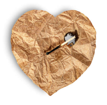 Crumpled paper heart burns match isolated on white background Stock Photo