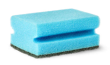 Sponge for washing dishes with felt horizontally isolated on white background Stock Photo