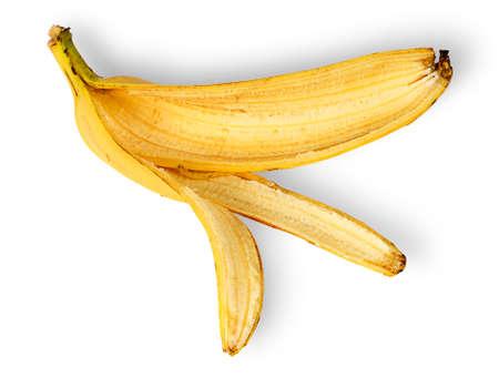 banana skin: Banana skin deployed horizontally isolated on white background