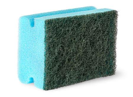 Sponge for washing dishes with felt on the side isolated on white background Stock Photo