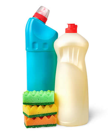 Detergent and sponges Stock Photo